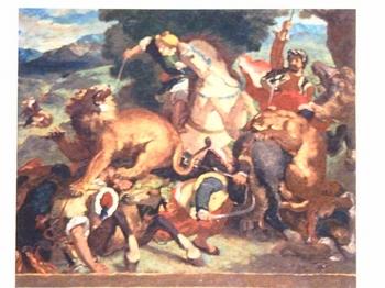 ルドン作(模写)ライオン狩り