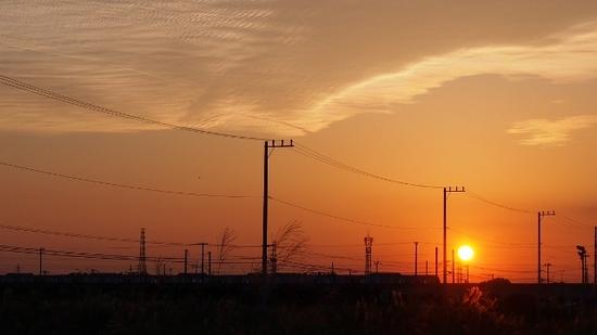 ツクバエクスプレスと夕日